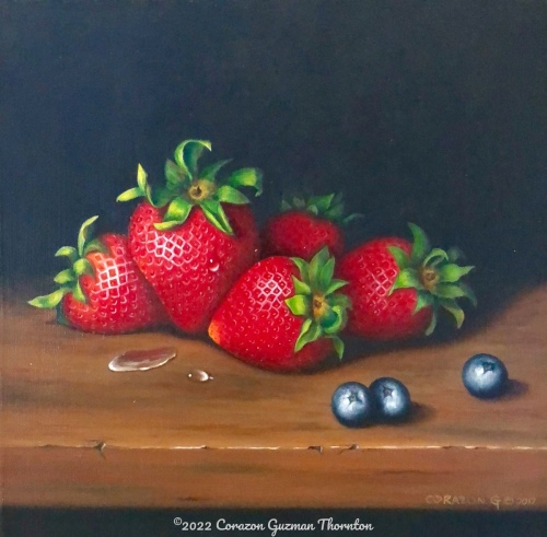 Strawberries and blueberries #3 by Corazon Guzman Thornton