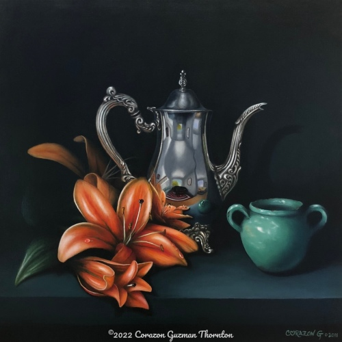 Silver carafe, salmon star lily and green vase
