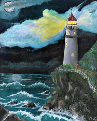 Seascape Acrylic Paintings: Through the night, lighthouse by