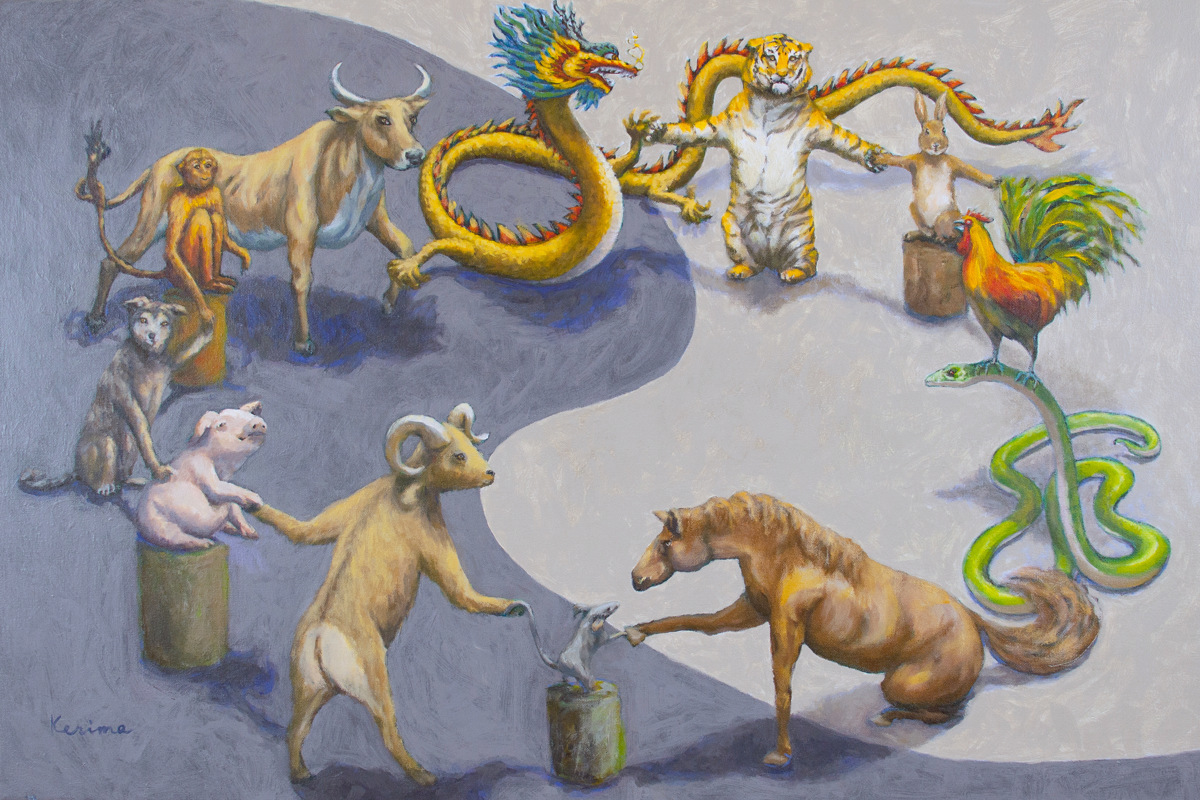 Chinese Zodiac Animals in Harmony (large view)
