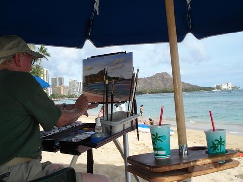 Painting at Waikiki Beach