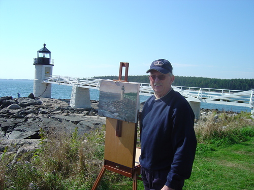Dale painting on location