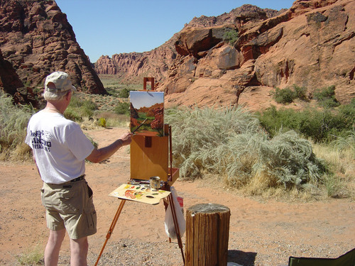 Dale painting on location - Snow Canyon