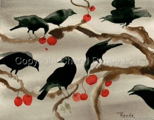 Crows With Winter Apples