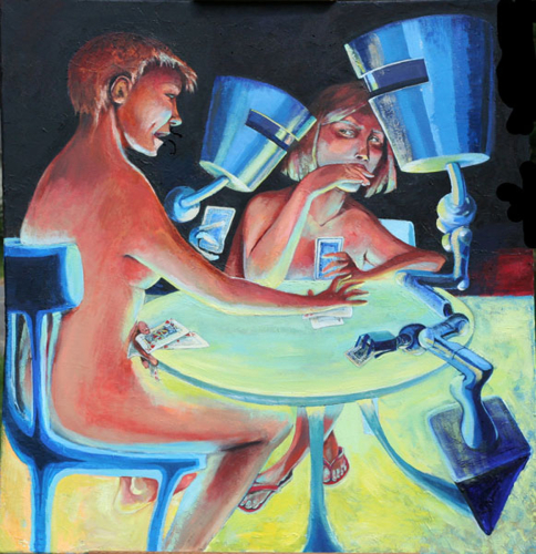 'Card Game with Robots' oil painting