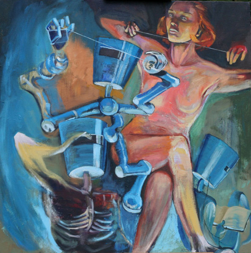 'Holding the Line' oil painting, nude women with robots
