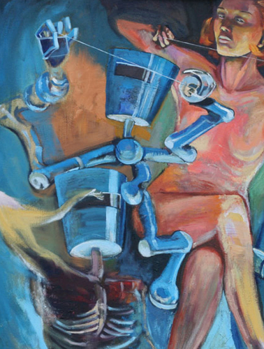 'Holding the Line', detail, oil painting, nudes with robots