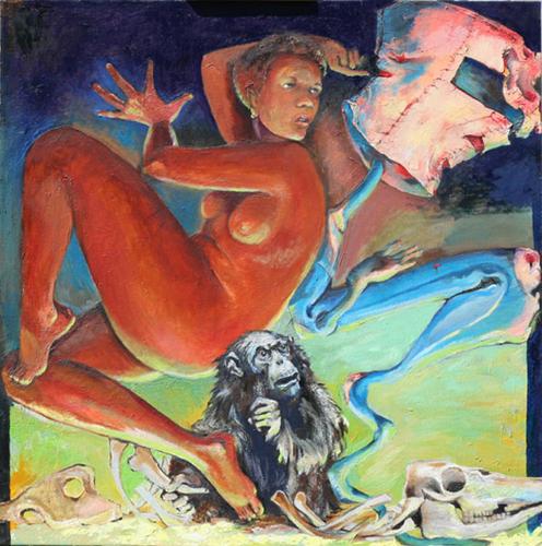 'MeatHead Evolution', oil painting
