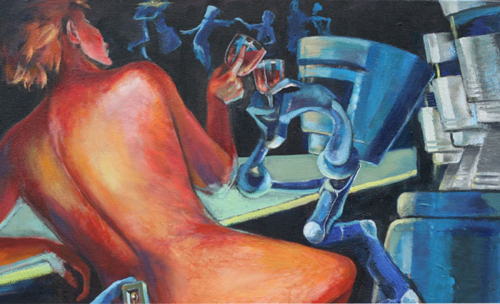 """""""Toasting the Future"""", detail of painting"""