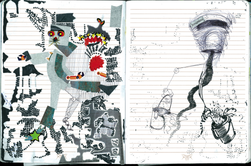 """Busy Bots"", Art Journal pages work"
