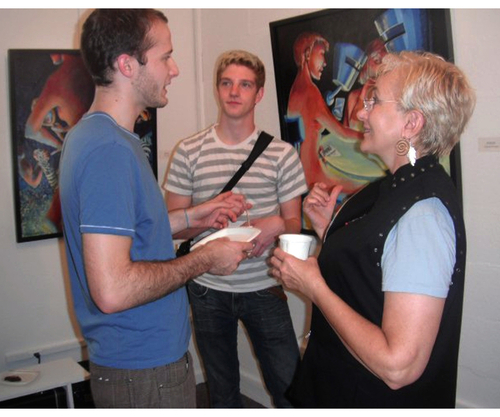 Me talking up some visitors to my show.