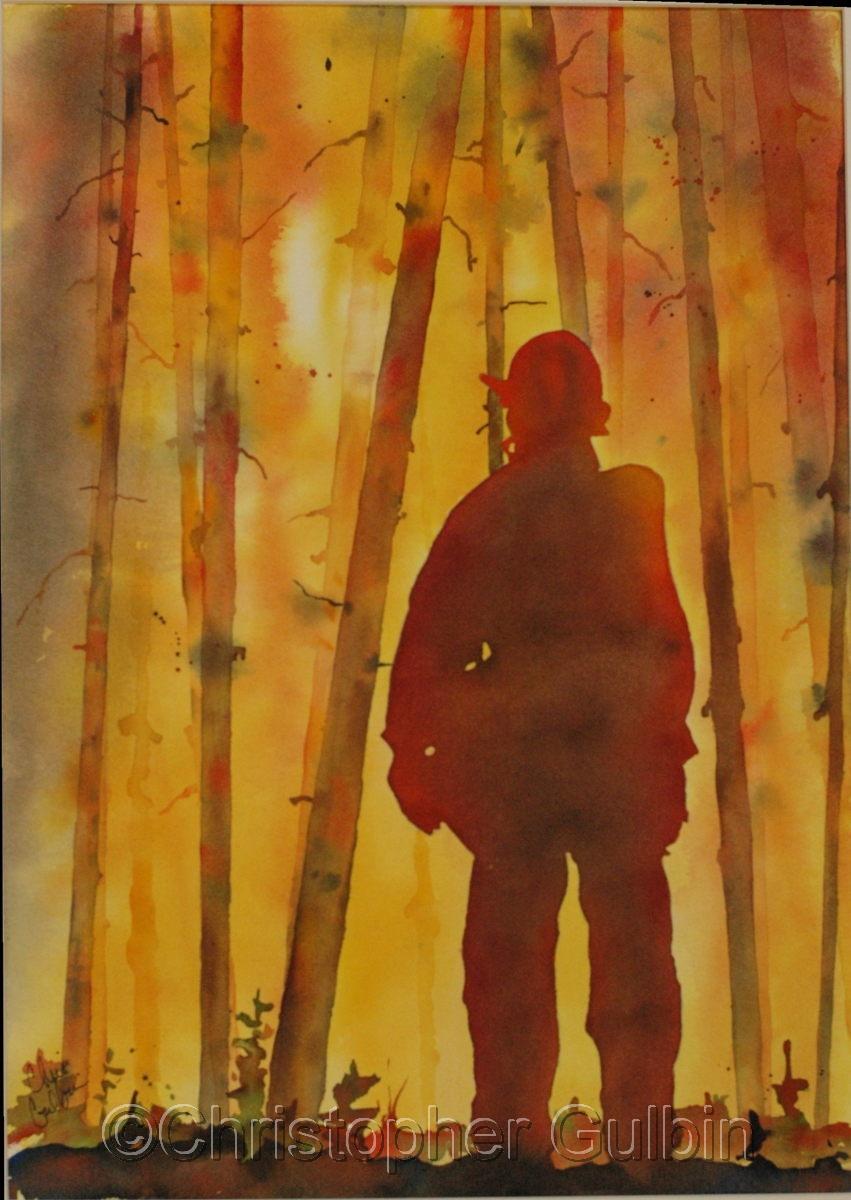 Painting Forest Fire Original Art By Christopher Gulbin