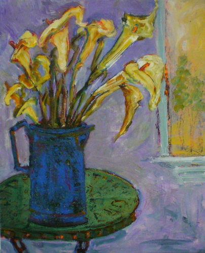 CALA LILIES IN A BLUE JUG (large view)