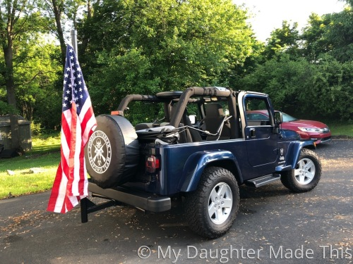 Rear View With Flag