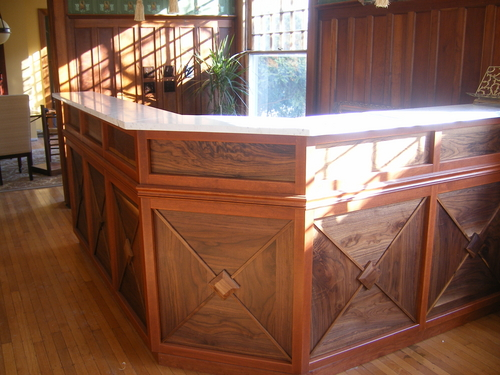 Reception desk at The Showers Inn Bed and Breakfast in Bloomington, Indiana
