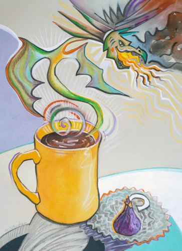 Morning Coffee with Dragon and Chocolate by www.elainedillingham.com