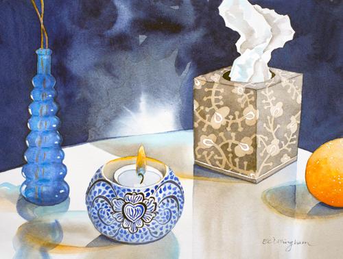 Vase, Candle, Tissue Box, Orange by www.elainedillingham.com