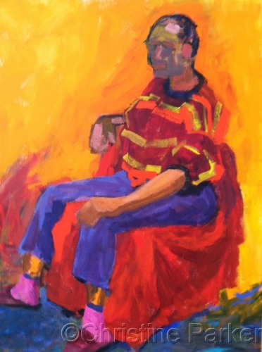 Seated Figure with Pink Socks