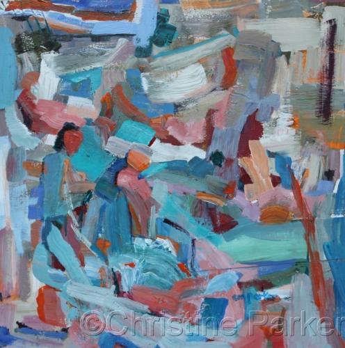 Abstract 18x18 acrylic 7/14