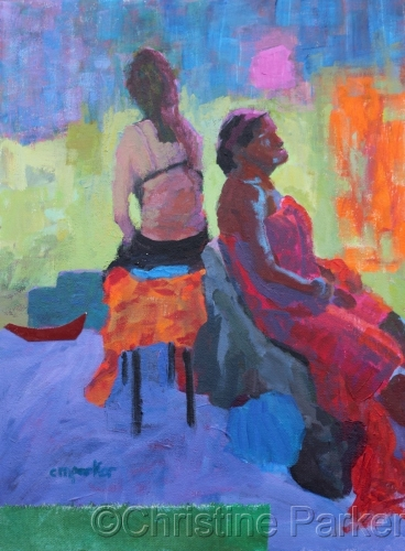 Two Models Acrylic and Collage