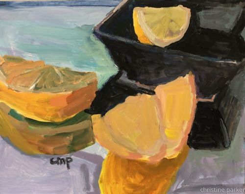 Still life with lemons by Christine Parker