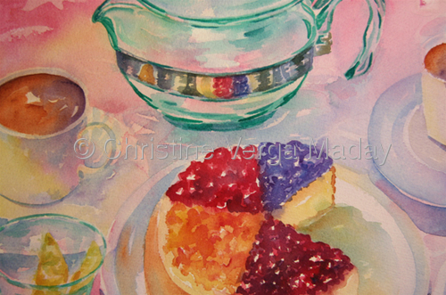 """lemons, cheesecake....teatime"" 3 (Private Collection) by Christine Verga Maday"