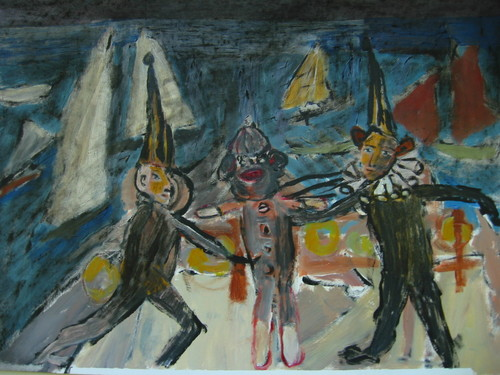 Harbor Scene Tugging the Monkey