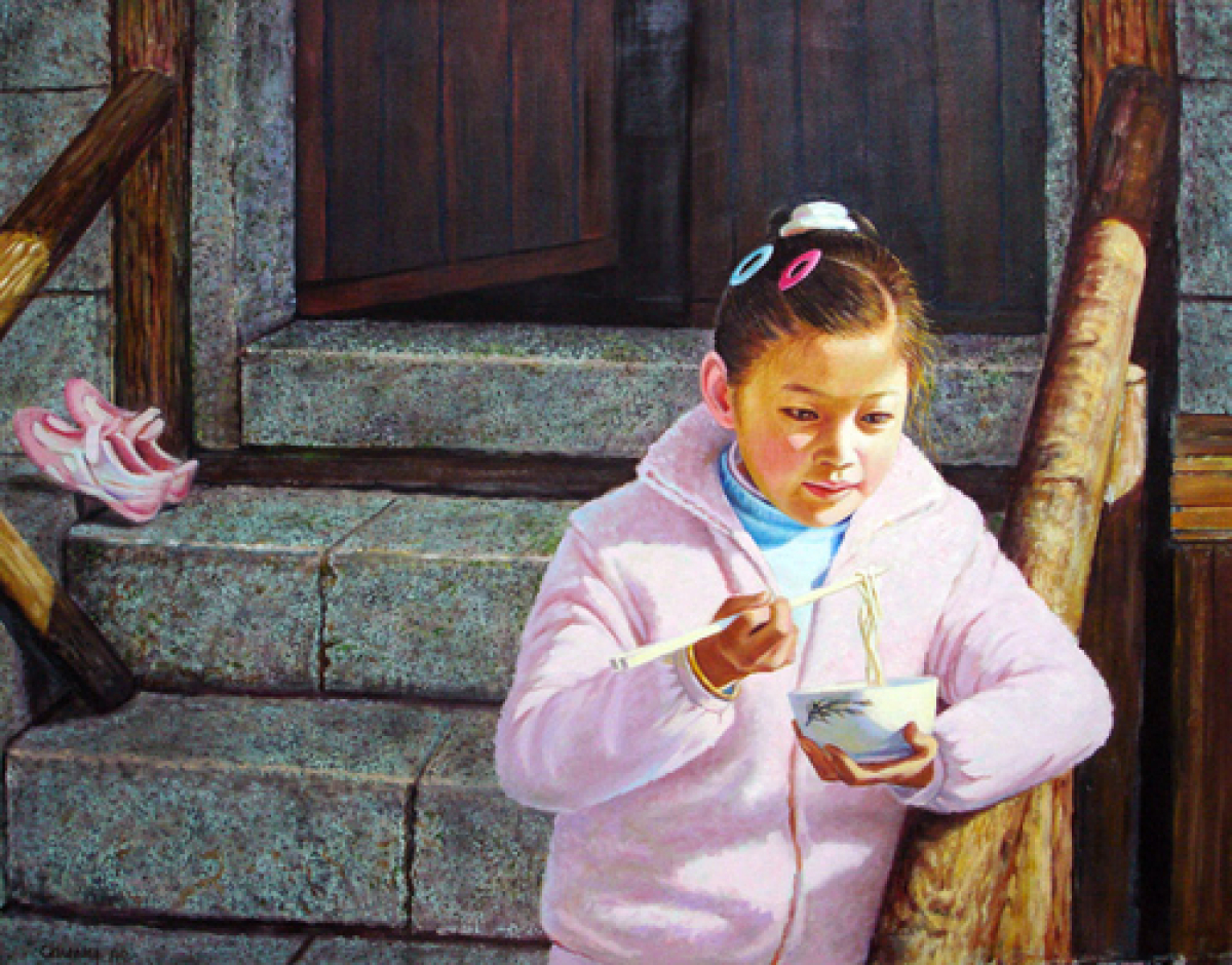 Girl Eating Noodles (large view)