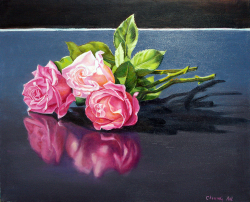 Rose on Table by Chung Ae Kim