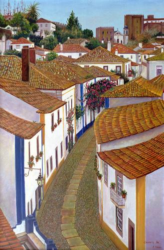 Obidos Street by Chung Ae Kim