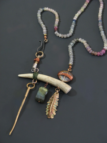 Bronze and Bone Balance Necklace No.1