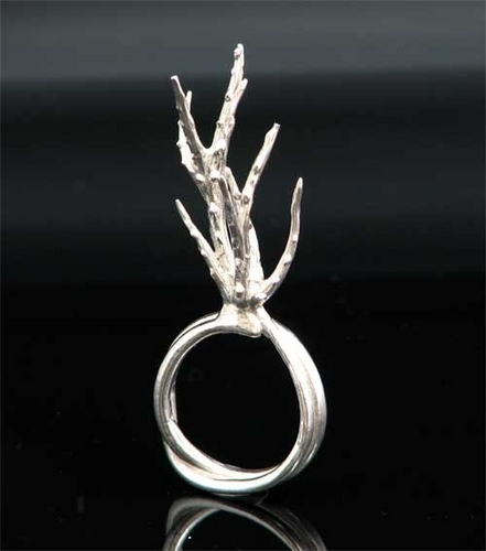Silver Coral Ring by CINDY MILLER Design Studio