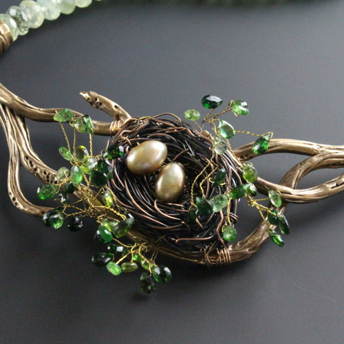 Bird's Nest with bronze and tourmaline detail