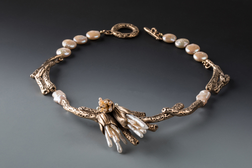 Coral Necklace with Stick Pearls