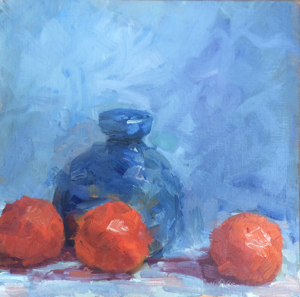 Blue Ceramic Pot and Clementines (large view)