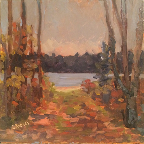 Autumn Path to Lake