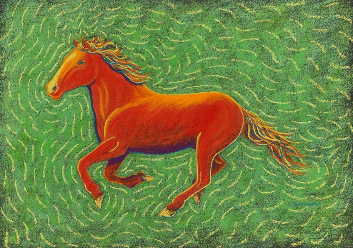 Painting Little Red Running Version Of Red Horse In Wild Horses Painting Original Art By Cynthia Sampson