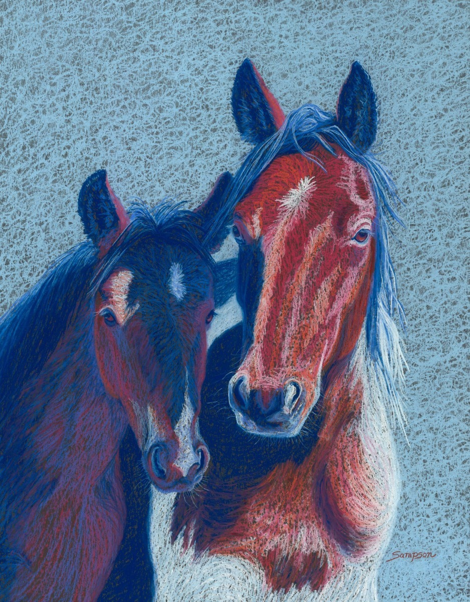 """""""Mrs. America""""  (wild mustang mare & colt) (large view)"""