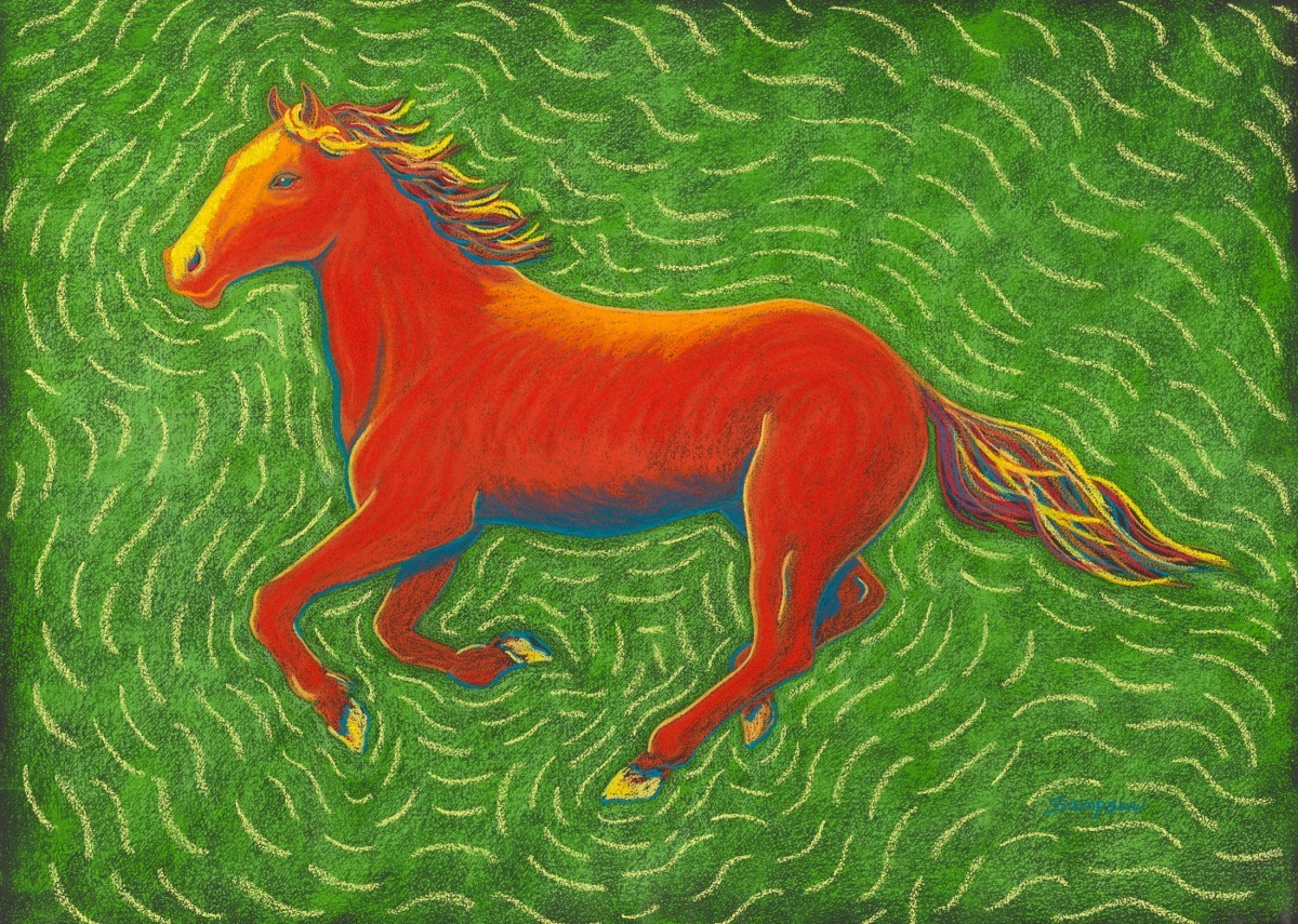 """""""Wild Red""""  (running version of red horse in """"Wild Horses"""" painting) (large view)"""