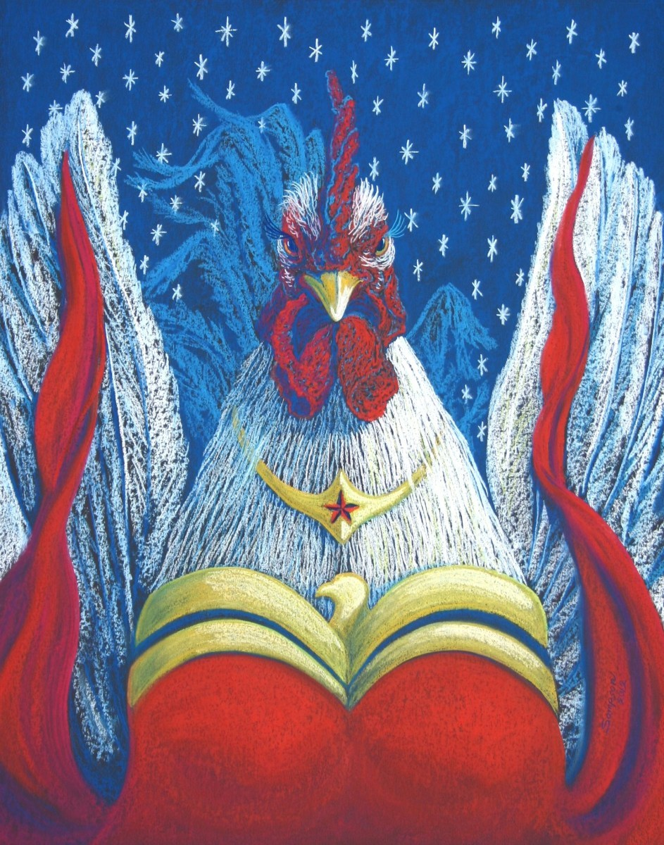 """""""MS. Wonder Woman""""   (roosters in drag series)  Original pastel donated to Telluride Aids Benefit Silent Art Auction (large view)"""