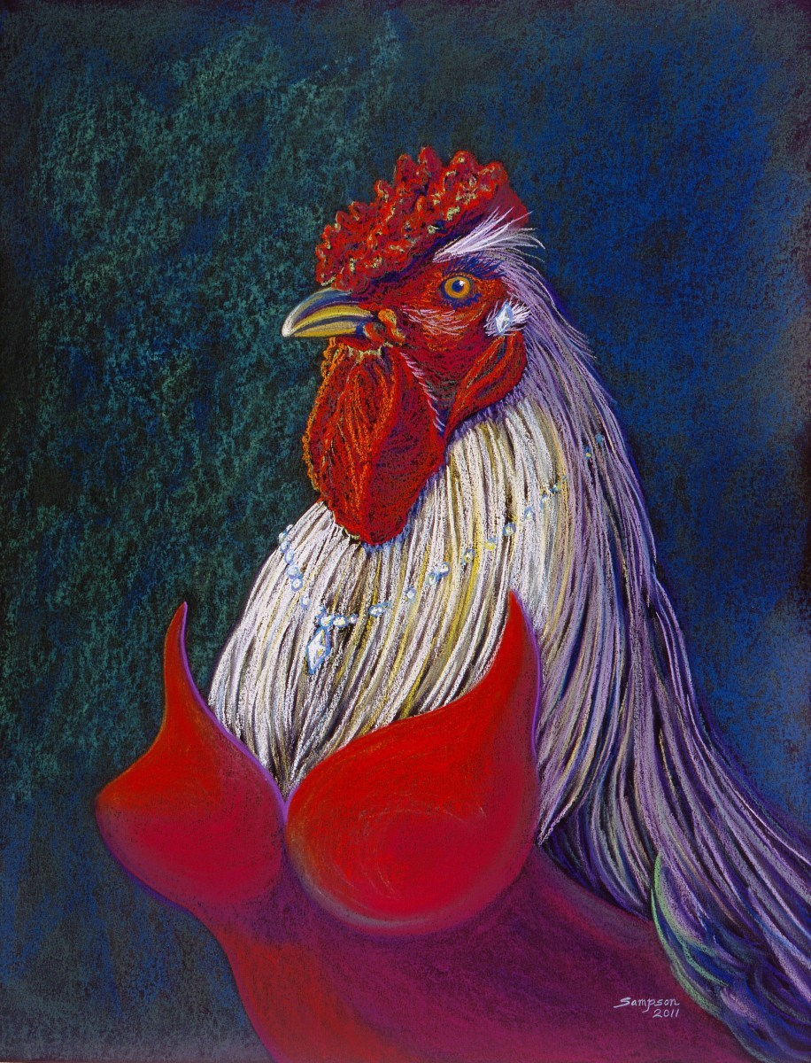 """Cherry Cordial""   (roosters in drag series)  Original pastel donated to Telluride Aids Benefit Silent Art Auction (large view)"