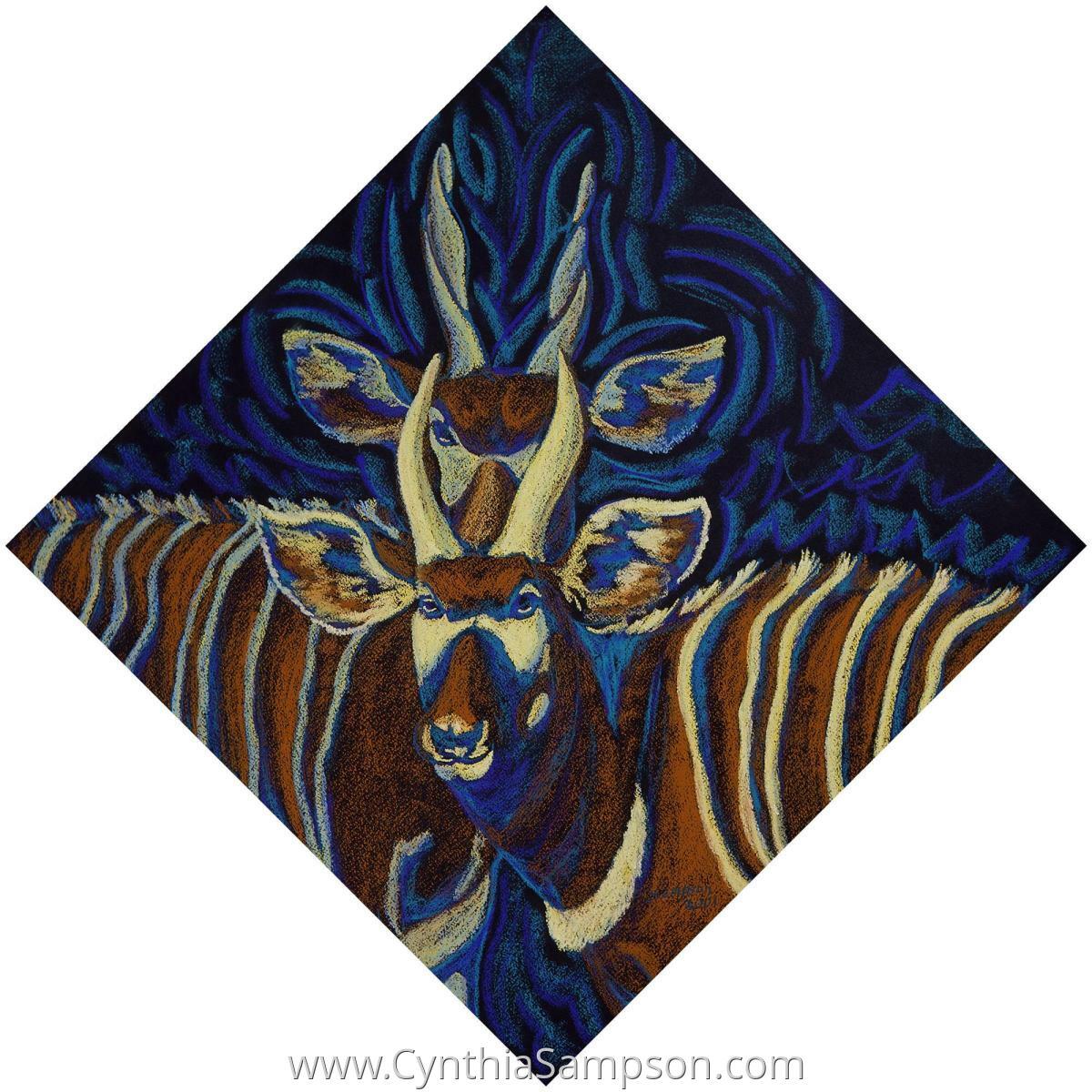 """Bongo Rap""   (painting hangs as a diamond) (large view)"
