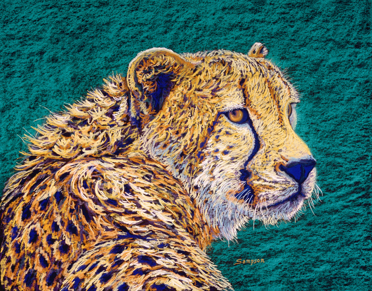 """The Watcher""   (cheetah portrait)  Original painting donated to Voices of Victims to help victims of violent crimes attend parole hearings (large view)"