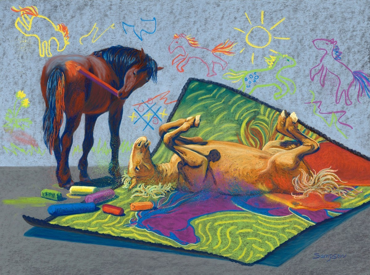 """Horsing Around with Pastels"" (large view)"