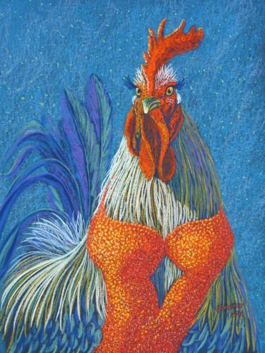 """Glamberella""   (roosters in drag series) by Cynthia Sampson"