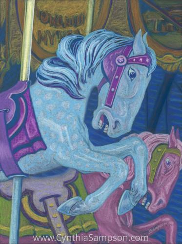 """Blue"" - Cheyenne Mt. Zoo Carousel by Cynthia Sampson"