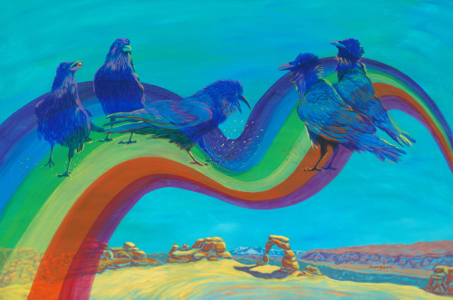 Wise Guys - ravens over Delicate Arch by Cynthia Sampson