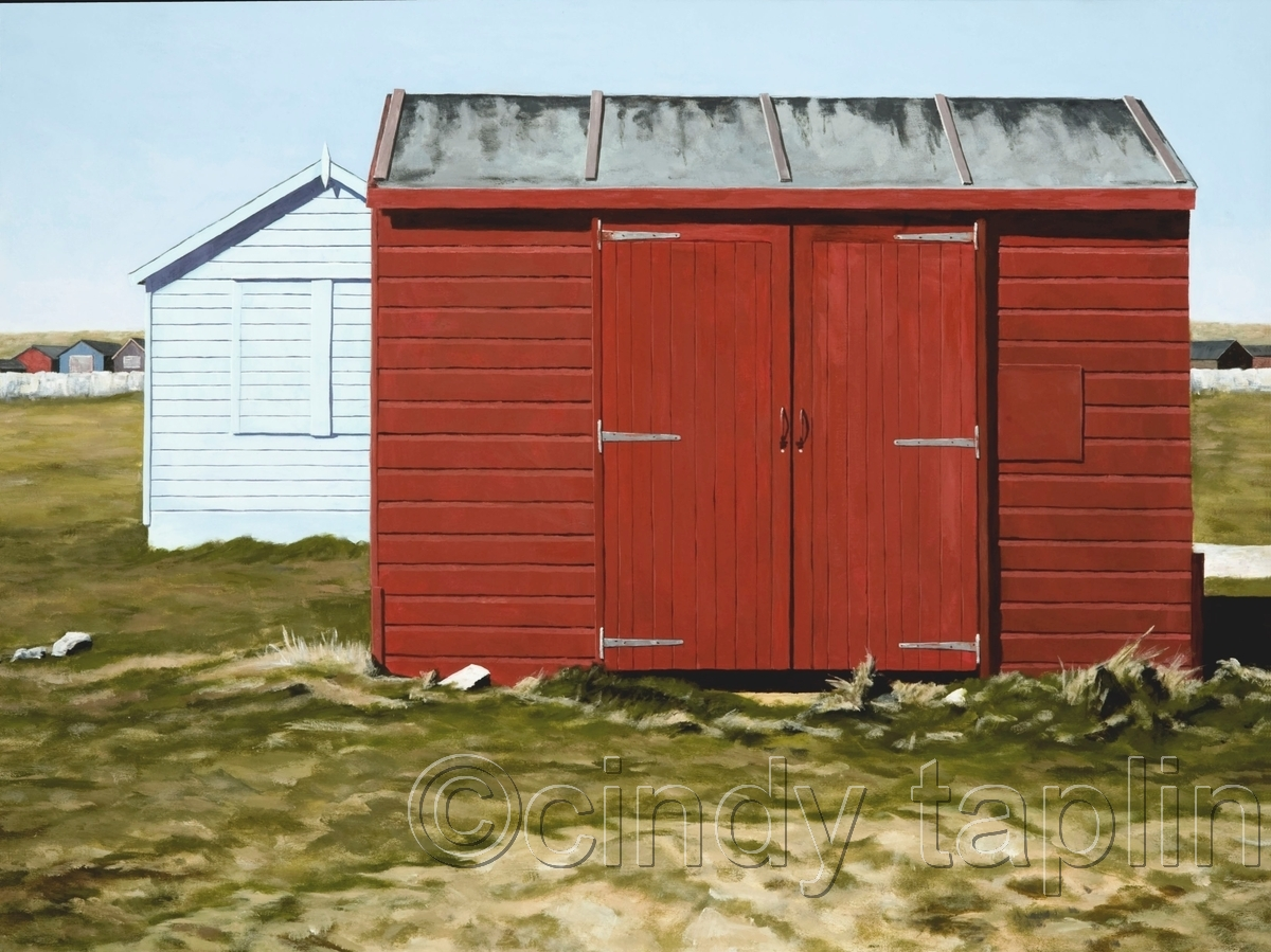 Beach Huts at Portland Bill Red and Blue (large view)