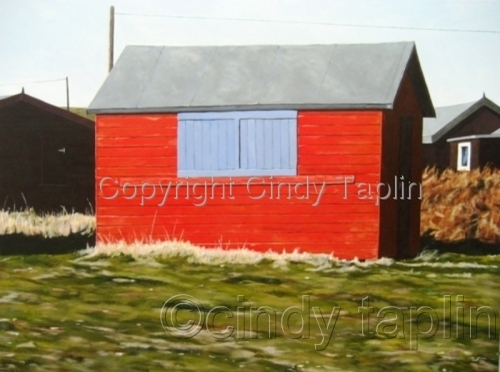 Beach Hut at Portland Bill with Blue Shutters (large view)