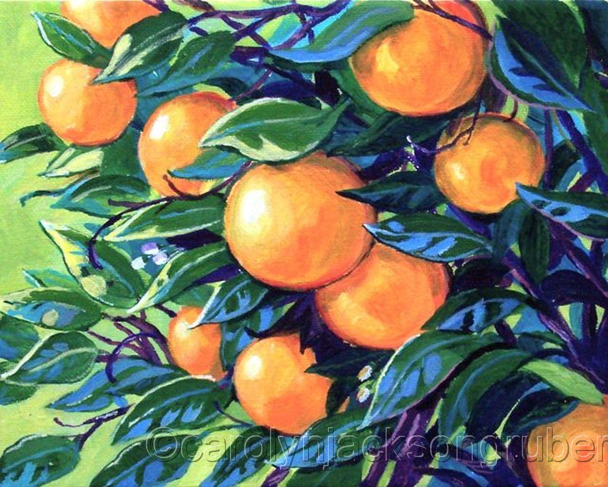 Paintings Orange Tree Branch By Carolyn Jackson Gruber L Fine Art